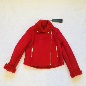 NWT**IKKS**Red Shearling look Jacket**Age 6**$265